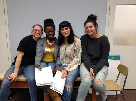 GSA leaders directing the Ally workshop on October 14, as part of Ally Week. From left are Nikki Segulin, Corin Bell, Francesca Dobies and Caitlyn Mannino.