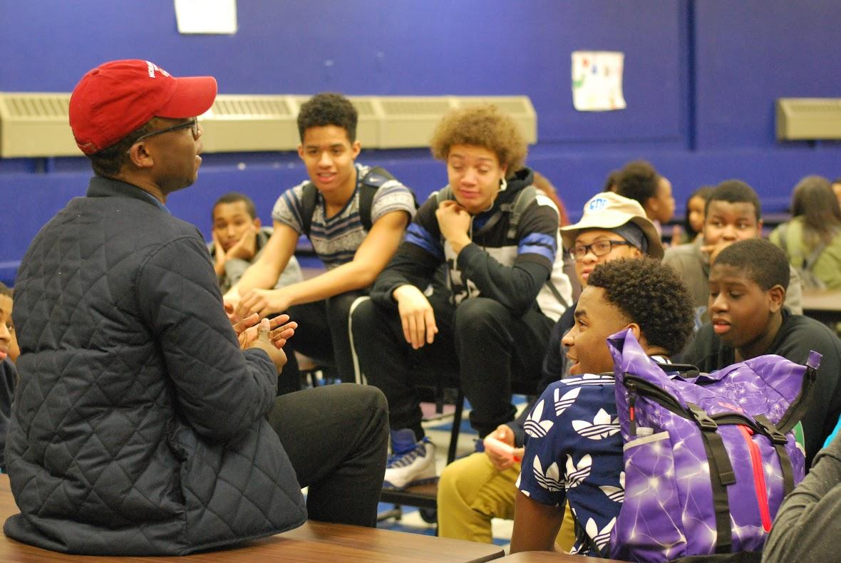 A student who attends Morehouse College, a HBCU for men, talks to male students about the opportunities the college provides.