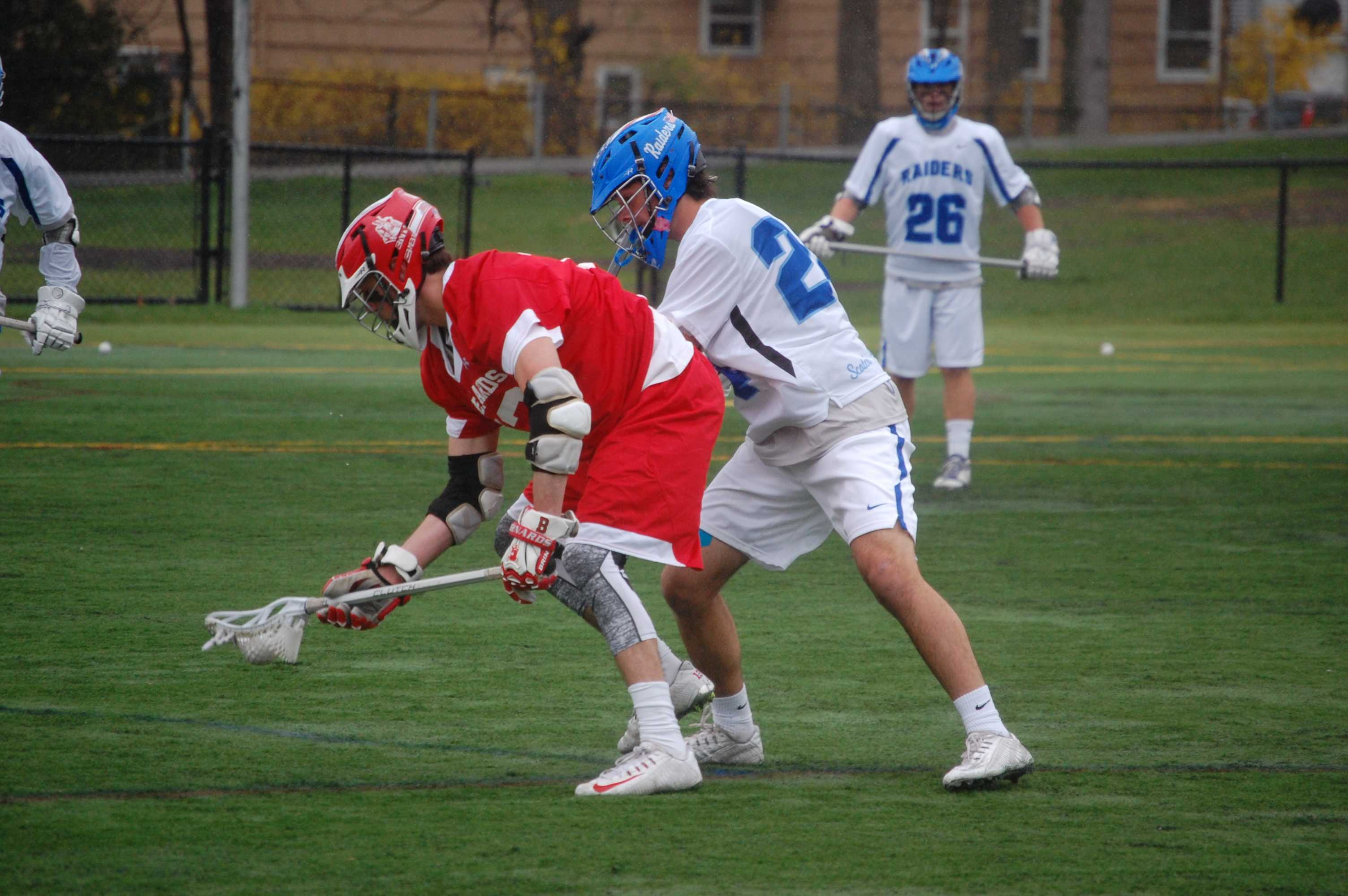 Junior Richard Nardone tries to get a groundball against a Mountaineer