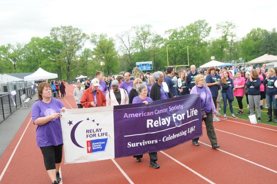 Cancer survivors from the SPF community walked the Suvivor Lap. Photo courtesy of Brooks Crandall.
