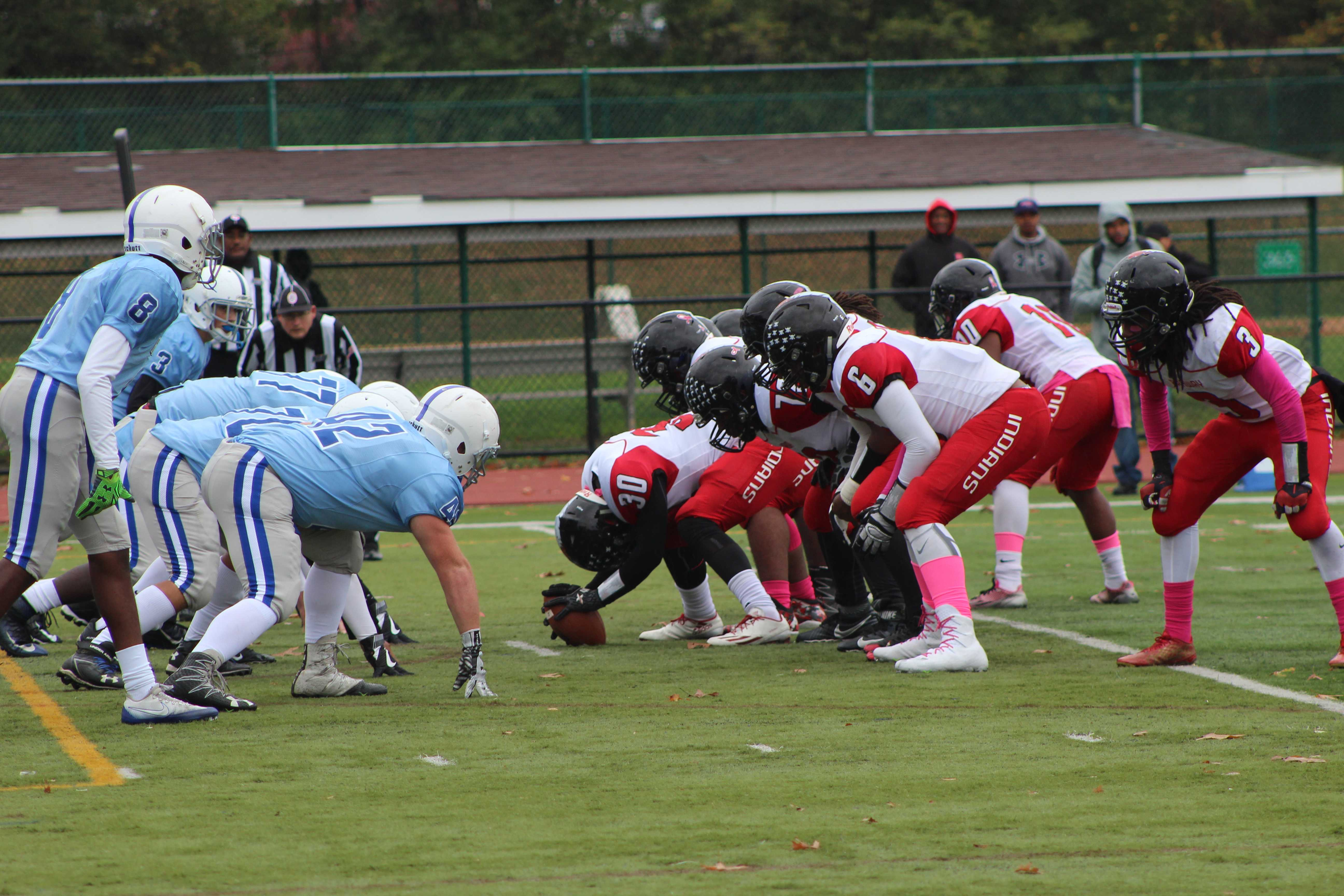 The football team faced off against Rahway's Indians.