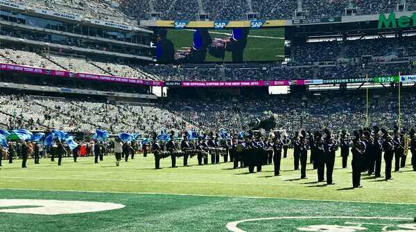 SPF Marching Band performs in Jets pre-game
