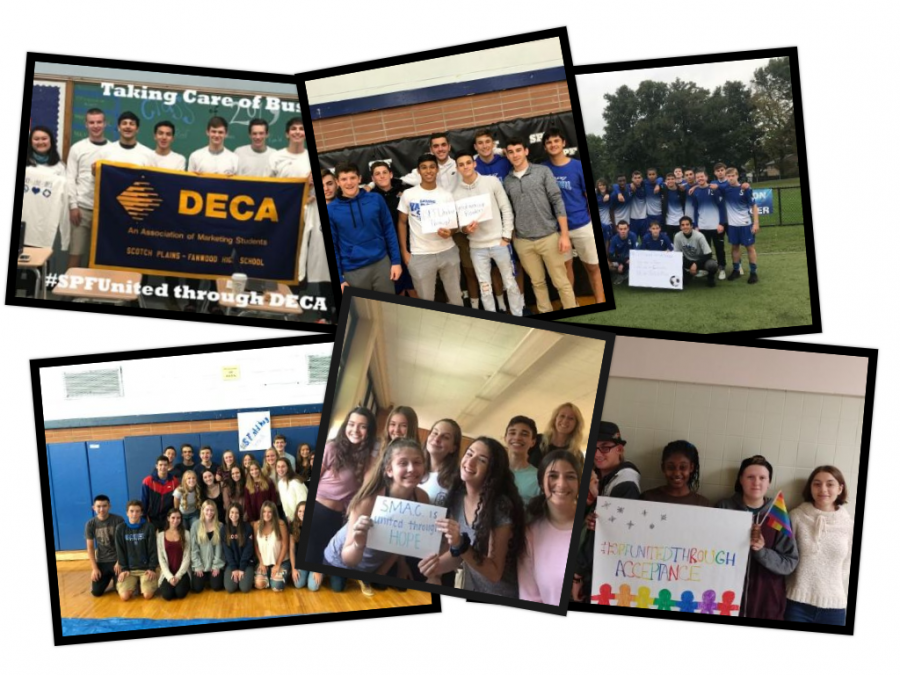 """A collage of various groups holding """"#SPFUnitedThrough"""" posters. They were made in support of the movement created to bring those in the community together."""