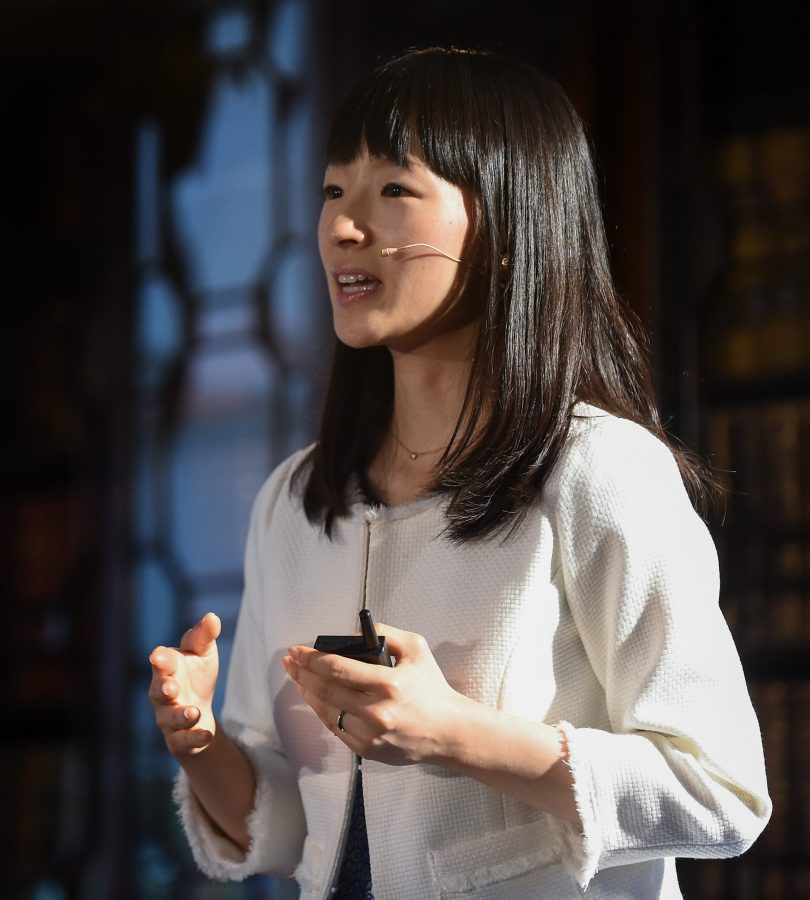 4 November 2015; Marie Kondo, Author and Organising Consultant, Marie Kondo, on the Society Stage during Day 2 of the 2015 Web Summit in the RDS, Dublin, Ireland. Picture credit: Diarmuid Greene / SPORTSFILE / Web Summit