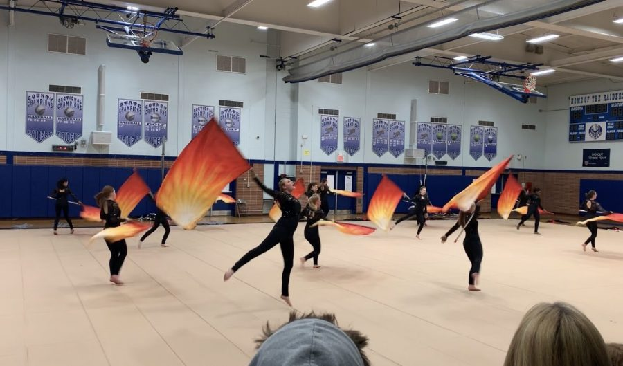 Winter guard showcases their skills to finish out their season