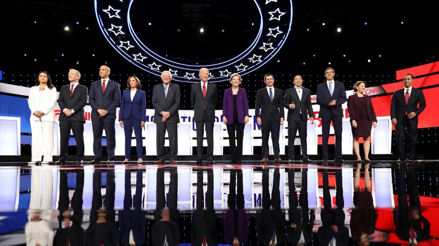 2020 democratic presidential candidates take to the stage for their fourth debate as the race for the Whitehouse heats up