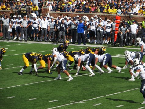 photo courtesy of flickr.com The Michigan Wolverines face the BYU Cougars at the offensive line at Michigan Stadium in Ann Arbour, Michigan. Michigan defeated BYU in a 31-0 win.