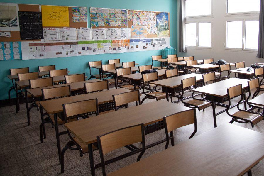 An empty classroom is seen during a class operated during lockdown for the healthcare workers children at the Dupanloup elementary school in Boulogne near Paris, France, on May 05, 2020. Questions rise about the reopening of schools on the eve Frances gradual exit from lockdown on 11 May. Photo by Aurore Marechal/ABACAPRESS.COM
