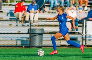Leah Klurman dribbles the ball down the right flank en route to goal. Klurman committed to the University of Tennessee to play soccer at the end of October. Photo Courtesy of Leah Klurman
