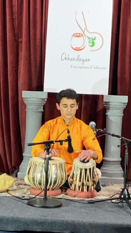 Phatak concentrates during a performance. Phatak started playing Indian classical music at a very young age.