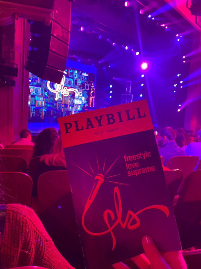 Freestyle Love Supreme plays at the Booth Theatre on Broadway for a limited engagement through Jan. 2, 2022. On Oct. 9, 2021, Lin-Manuel Miranda, Chris Jackson, Wayne Brady, Aneesa Folds, Chris Sullivan and Anthony Veneziale performed.